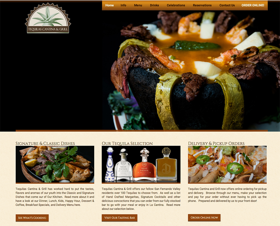 Tequilas Cantina & Grill Website